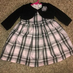 Pink and Black Plaid Formal Dress